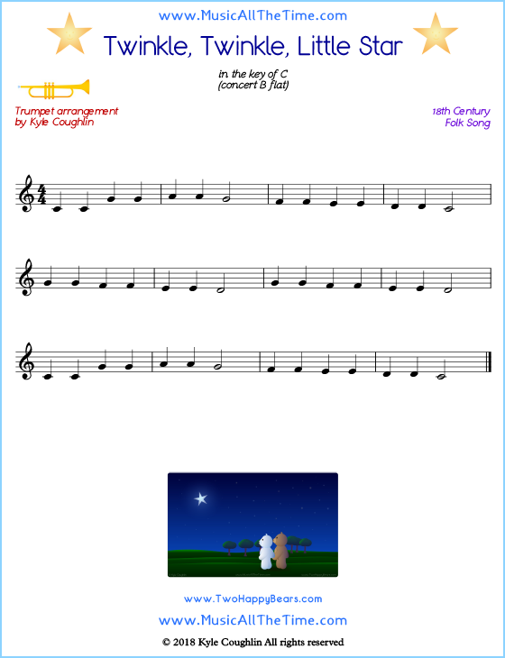 Twinkle, Twinkle, Little Star trumpet sheet music, arranged to play along with other wind and brass instruments. Free printable PDF.