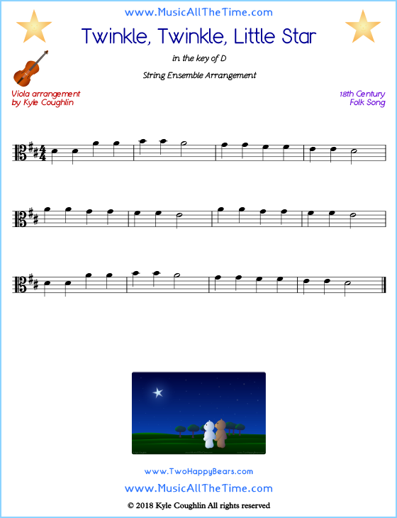 Twinkle, Twinkle, Little Star viola sheet music, arranged to play along with other string instruments. Free printable PDF.