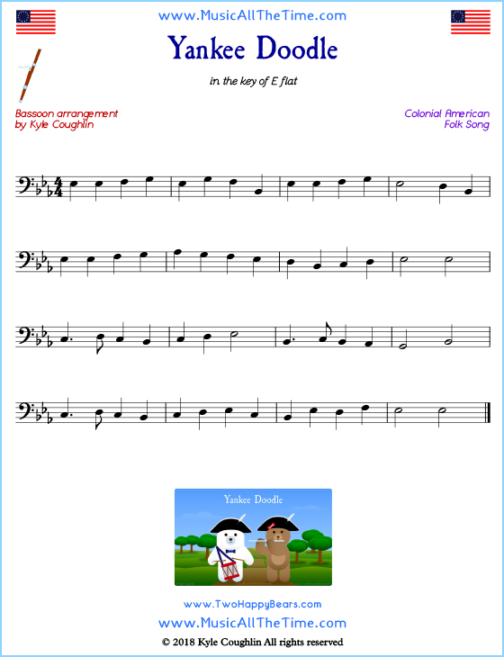 Yankee Doodle bassoon sheet music, arranged to play along with other wind and brass instruments. Free printable PDF.