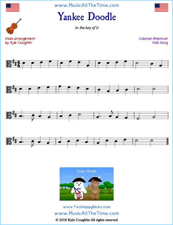 Yankee Doodle viola sheet music, arranged to play along with other string instruments. Free printable PDF.